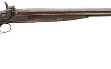 A 12-BORE DOUBLE BARRELLED PERCUSSION SPORTING GUN BY P