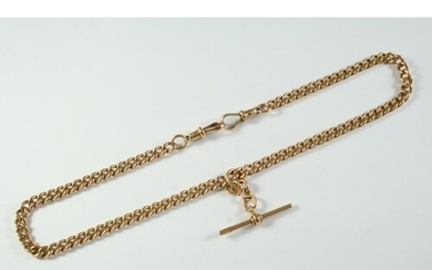 A 15CT GOLD CURB LINK WATCH CHAIN each link stamped for 15ct...