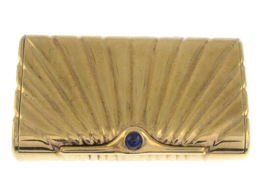A 1970s 9ct gold box, with sapphire highlight.
