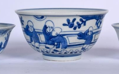 A CHINESE BLUE AND WHITE PORCELAIN BOWL, together with