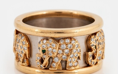 "A Cartier ""Elephant"" ring in 18K gold and white gold set with round brilliant-cut diamonds and emeralds"