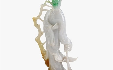 A Chinese carved multicolor jadeite figure of Guanyin late...