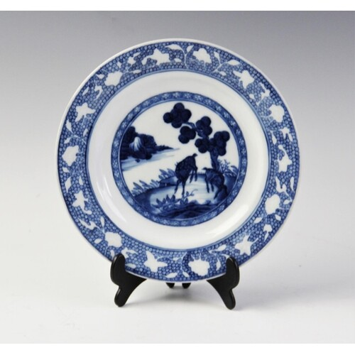 A Chinese porcelain blue and white plates, 18th century, of ...