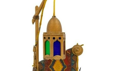 A Cold Painted Cast Metal Figural Lamp