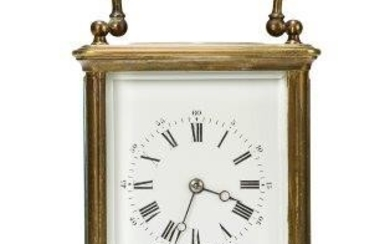 A French brass carriage clock, 20th century,...