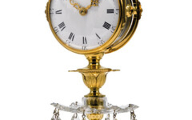 A GEORGE III ORMOLU AND CUT GLASS 'CANDLESTICK CLOCK' TIMEPIECE