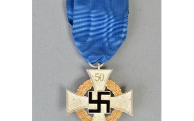 A GERMAN 3RD REICH FAITHFUL SERVICE MEDAL '50' ON TOP ARM OF...
