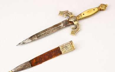 A GOOD 19TH CENTURY SPANISH TOLIDO INLAID KNIFE, the