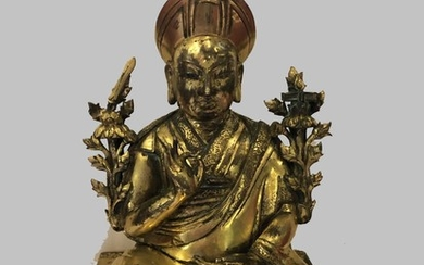 A Rare Gilt Bronze Figure of Changkya Hutuktu Rolpai Dorje, Tibet, 18th Century.
