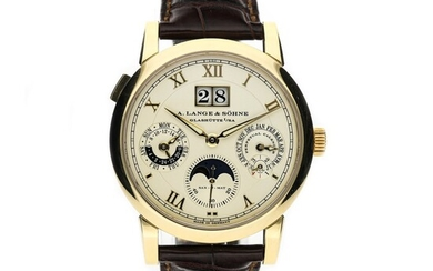 A. LANGE & SOHNE | SAX-O-MAT LANGEMATIK REF 310.021 E, A YELLOW GOLD AUTOMATIC PERPETUAL CALENDAR WRISTWATCH WITH MOON PHASES, LEAP YEAR AND 24-HOUR INDICATION 2002