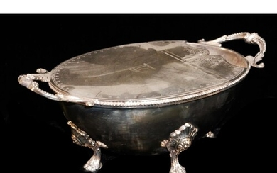 A LARGE VICTORIAN SILVER PLATED OVAL SPOON WARMER With twin...