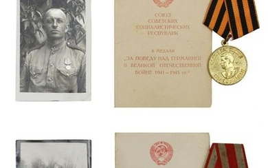 A LOT OF RUSSIAN SOVIET MEDALS AND PHOTO