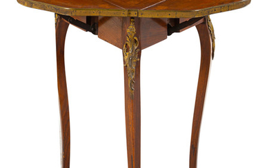 A Louis XV Style Gilt Bronze Mounted Drop-Leaf Side Table