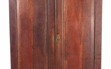 A MID 18TH CENTURY OAK HALL CUPBOARD with moulded