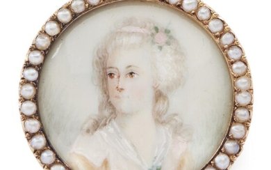 A MINIATURE PORTRAIT AND SEED PEARL BROOCH