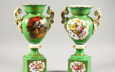 A PAIR OF CONTINENTAL PORCELAIN PEDESTAL VASES painted