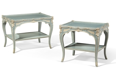 A PAIR OF LOUIX XV STYLE BLUE AND CREAM-PAINTED LOW TABLES, ATTRIBUTED TO MAISON JANSEN, MID-20TH CENTURY