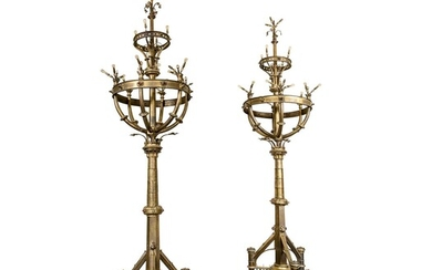 A PAIR OF MONUMENTAL TWENTY-SIX LIGHT GILT BRONZE AND GLASS INSET CANDELABRA