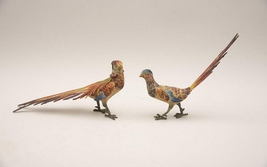 A Pair Of Austrian Cold Painted Bronze Pheasants