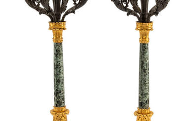 A Pair of Empire Style Gilt and Patinated Bronze and Marble Five-Light Candelabra