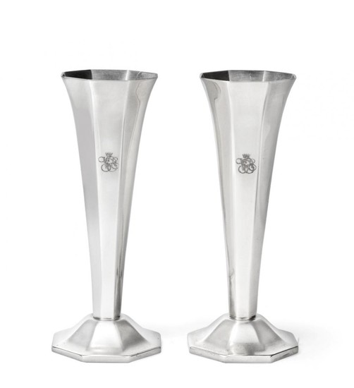 A Pair of French Silver Plated Vases, by Ercuis, 20th...