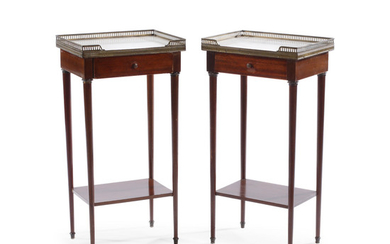 A Pair of Louis XVI Style Marble Top Mahogany Side Tables