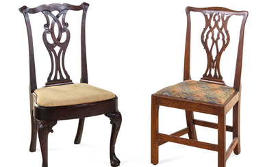 A Queen Anne Mahogany Side Chair and a George III Mahogany Side Chair
