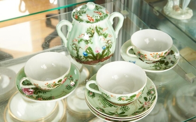 A SET OF CHINESE HAND PAINTED CUPS AND SAUCERS WITH LIDDED POT, LEONARD JOEL LOCAL DELIVERY SIZE: SMALL