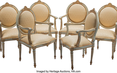 A Set of Six Italian Neoclassical Partial-Gilt and Painted Wood Armchairs