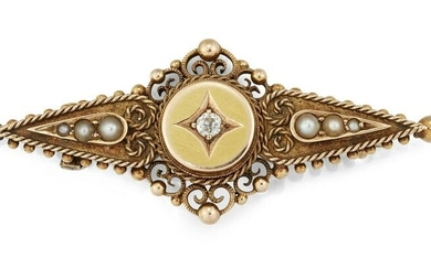 A VICTORIAN 15 CARAT GOLD DIAMOND AND SEED PEARL