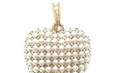 A Victorian seed pearl and diamond heart locket