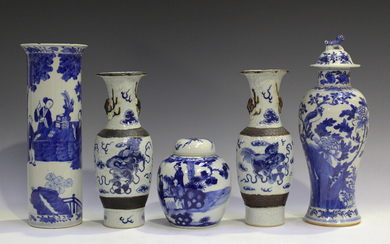 A collection of Chinese blue and white porcelain, late 19th century, comprising a cylindrical vase