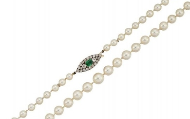A cultured pearl, emerald and diamond necklace,...