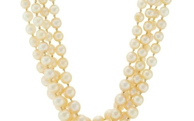 A cultured pearl necklace, with ruby and diamond clasp.