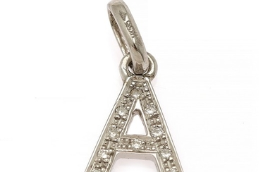 A diamond pendant in the shape of the letter A set with nine brilliant-cut diamonds, mounted in 14k white gold. W. 10 mm. L. incl. eye-let 20 mm.
