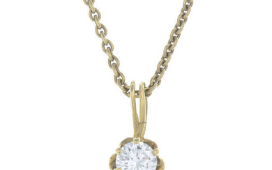 A diamond single-stone pendant, with chain.