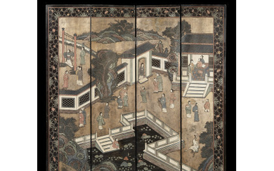 A four-fold Coromandel screen decorated with interior scenes on the...
