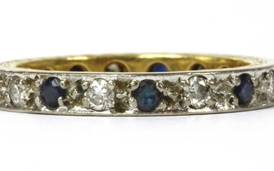 A gold and white gold, sapphire and diamond full eternity ring