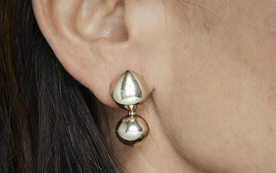 """A gold pair of """"Trottola"""" earrings by VHERNIER. Signed and..."""