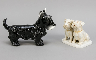 A group of dogs and a dog, a pair of terriers, looking upwards, Scheibe-Asbach, 20th century, white, slightly painted, model no. 12883, min. chips, h. 12 cm, with black terrier, England, ceramics, 20th century, l. 24 cm