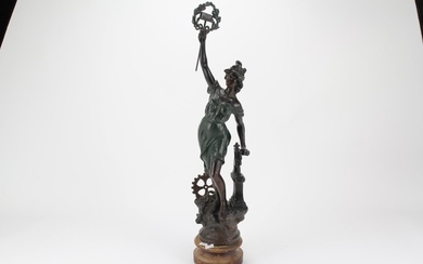 A late 19th century spelter study of Industry.