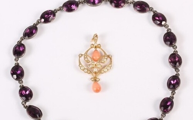 A late Victorian coral and split pearl yellow metal pendant,...