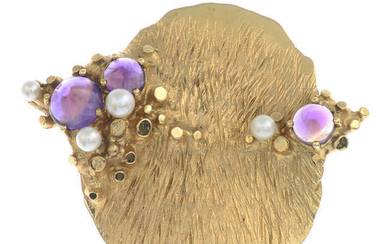 A mid 20th century 14ct gold amethyst and seed pearl brooch, by Knoll & Pregizer.