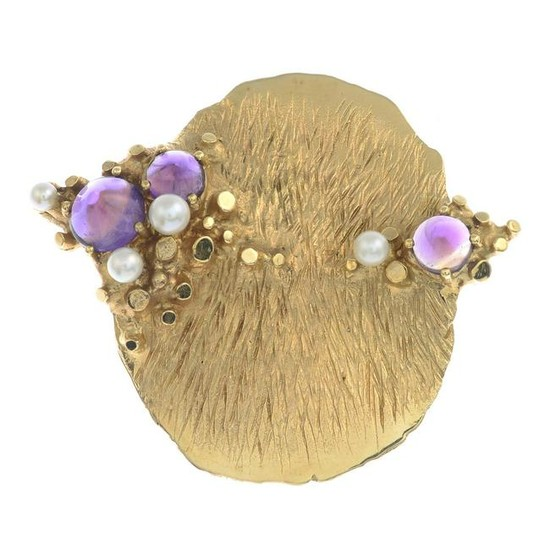 A mid 20th century 14ct gold amethyst and seed pearl