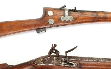 A military musket of Brown Bess type and an Indian match lock musket. – Bruun...