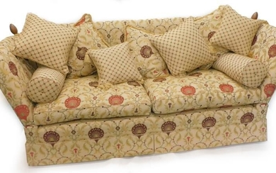 A modern David Gundry knoll sofa, upholstered in floral...