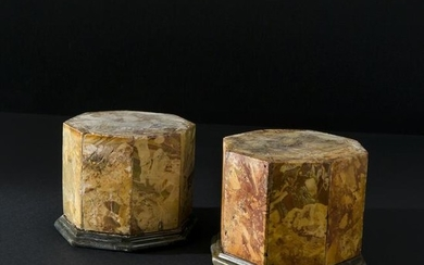 A pair of 18th century jasper octagonal small bases