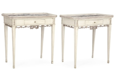 A pair of Danish Louis XVI style tile top tables. The tables late 19th century. The tiles late 18th century. H. 75 cm. W. 73 cm. D. 47 cm. (2)