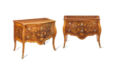A pair of South West German 18th century kingwood, rosewood, parquetry and marquetry commodes