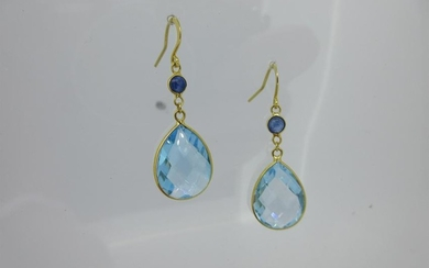 A pair of blue topaz and sapphire earpendants,